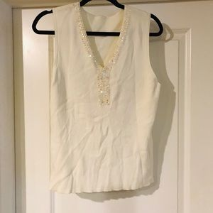 Talbots cream white sequin v neck blouse rib top
